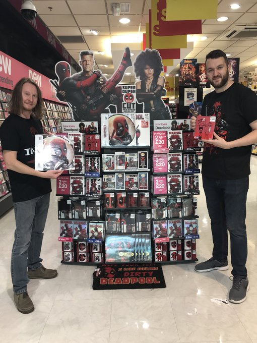 Out Now #Deadpool2 on DVD, Blu Ray, 4K Ultra HD and #hmvExclusive 4K Steelbook. Deadpool 1 & 2 collection also available as well as loads of merchandise including t-shirts, Pop Vinyl and Mugs. @DeadpoolMovieUK @Bullring Photo
