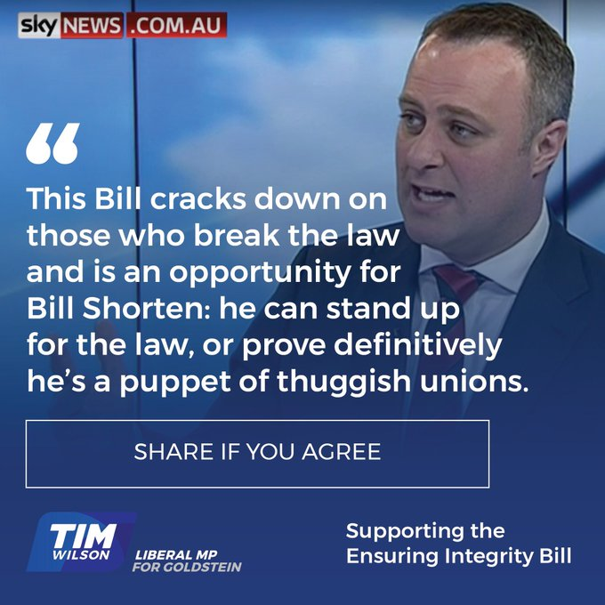 This Bill cracks down on those who break the law and is an opportunity for Bill Shorten: he can stand up for the law, or prove definitively he's a puppet of thuggish unions. Photo