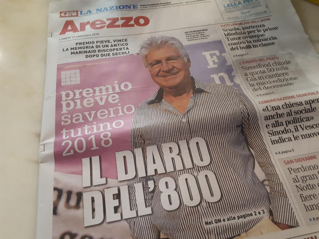 Prima pagina per il #diario vincitore del #premiopieve!  - Ukustom