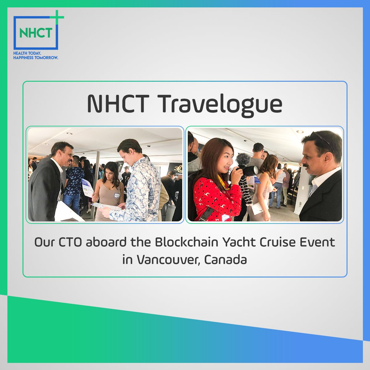 #Healthcare on blockchain, an amazing concept as viewed by many at the Blockchain Yacht Cruise Event in Vancouver, Canada. Our CTO, Nagarjuna Vanagala, demonstrated the power of #NHCT to the attendees. A glimpse of our presence at the event. View more at -  https://www. nhct.io/gallery.php  &nbsp;  <br>http://pic.twitter.com/3fTk1xSGMd