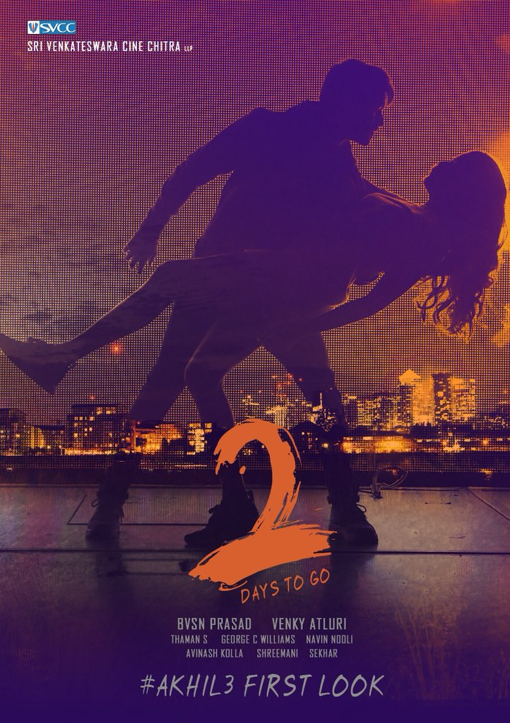 2 Days To Go For #Akhil3FirstLook @AkhilAkkineni8 @AgerwalNidhhi @dirvenky_atluri Film @MusicThaman Musical @SVCCofficial Production @george_dop @SonyMusicSouth #Akhil3