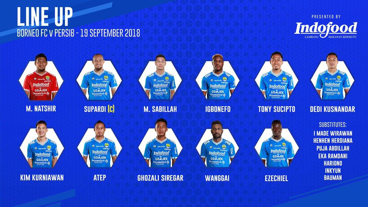 Susunan Starting XI Persib lawan Borneo FC, pekan ke-22 Go-jek Liga 1 (sumber twitter @persib)