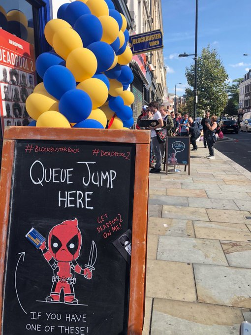 Holy Sh** balls! Blockbuster is back open for business baby! Bring me your old Blockbuster card and lets party like it's 1989. Don't come alone. #Deadpool2 #BlockbusterBack Photo