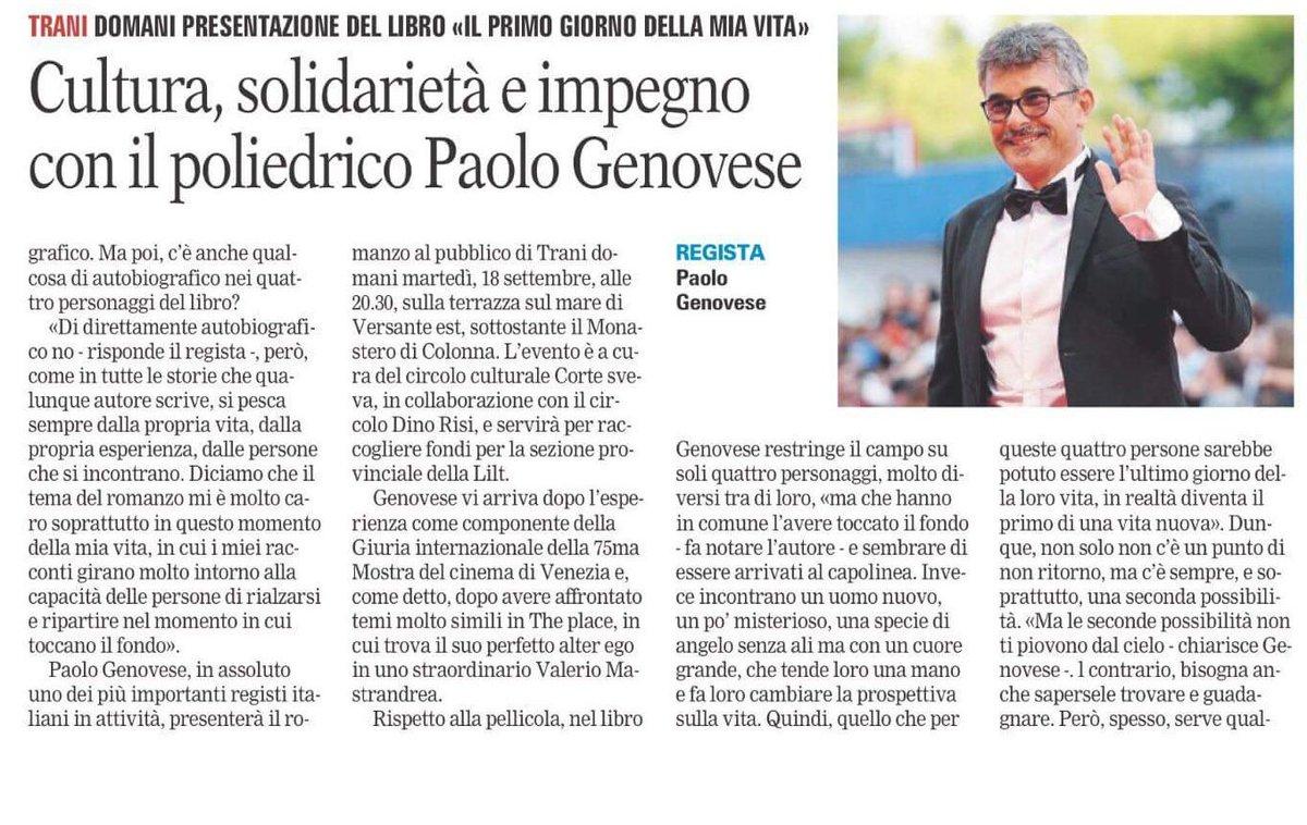 a #Trani domani Paolo #Genovese presenta il suo romanzo. Start ore 20.30 #VersanteEst  - Ukustom