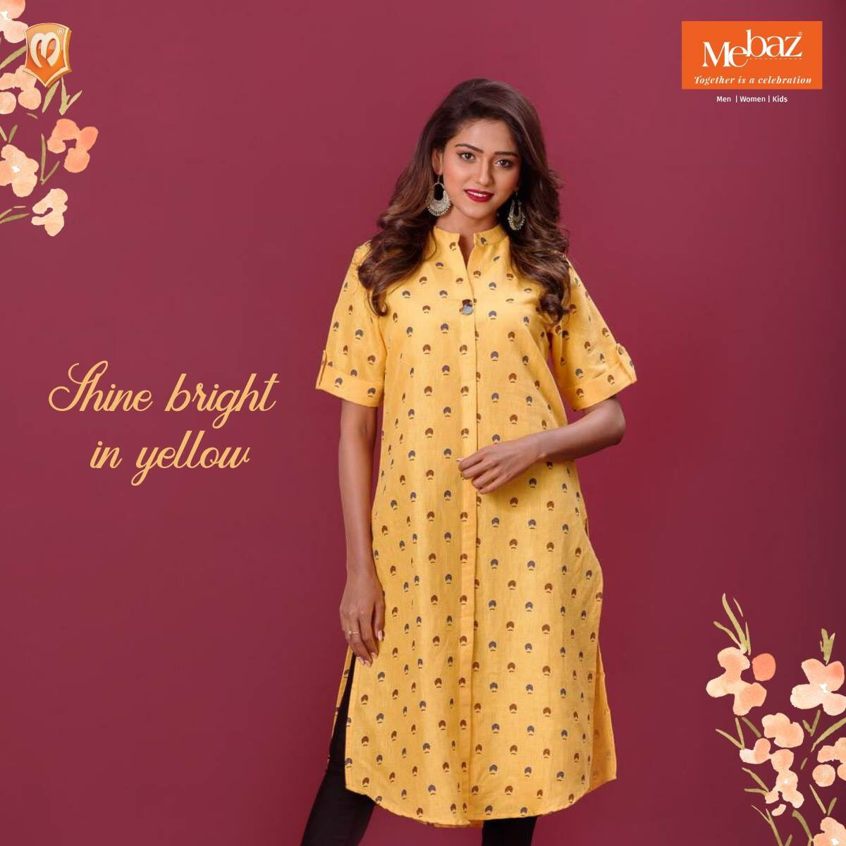 0c0bc240ba Shop online at http://www.mebaz.com today! #Mebaz #Style #design #fashion  #yellow #kurti #chiquepic.twitter.com/35jrtIRzcd