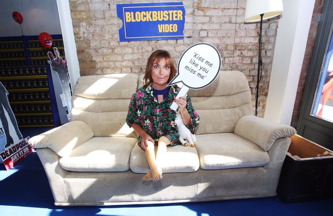 Loving this picture of @lorraine opening the special @DeadpoolMovieUK Blockbuster video store in Shoreditch - where every video is a special edition of #Deadpool2 #blockbusterback Photo