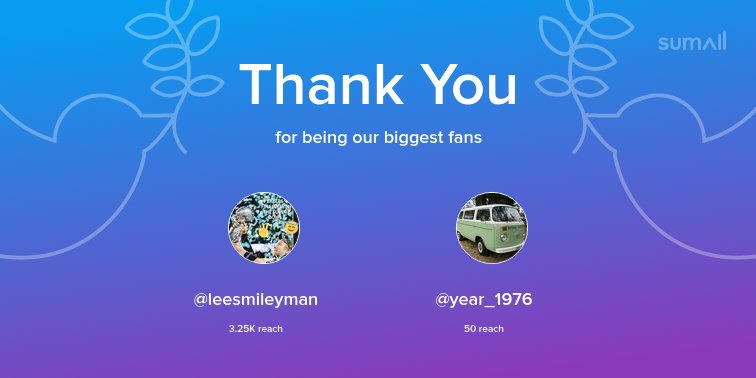 Our biggest fans this week: @leesmileyman, @year_1976. Thank you! via https://sumall.com/thankyou?utm_source=twitter&utm_medium=publishing&utm_campaign=thank_you_tweet&utm_content=text_and_media&utm_term=e3d27fc4a3b0298fb8986373…