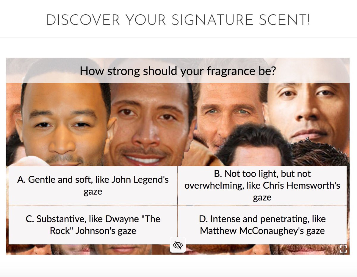 Arielle Weinberg On Twitter Let S Get Quizzical Let Dwayne The Rock Johnson S Mesmerizing Face Guide You To Your Signature Scent S In Our New Buzzfeed Worthy Quiz Https T Co Cncsmhf4sf Https T Co Azg85g9vcn