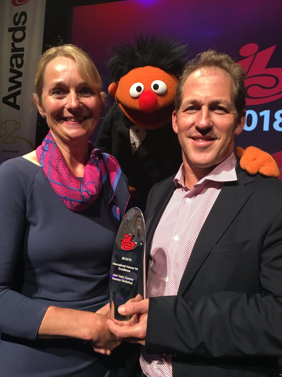 Sesame Workshop's Steve Youngwood accepted @IBCShow's International Honour for Excellence on behalf of our co-founder, Joan Ganz Cooney last night! Steve was joined by special guest Ernie to accept the award. #IBC2018 <br>http://pic.twitter.com/XjGT8I7T3U