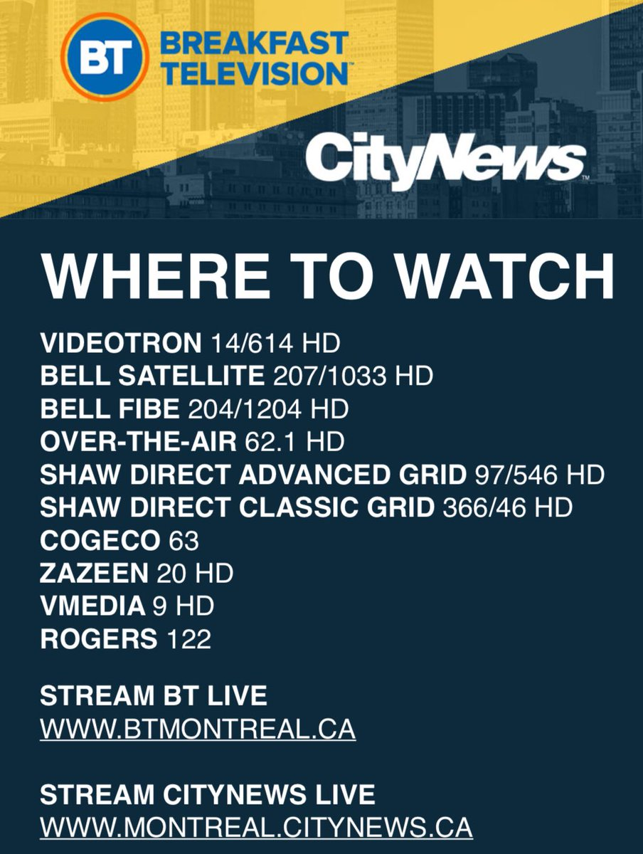 Tv Guide Montreal >> Breakfast Television Citynews Montreal On Twitter Your Tv Guide