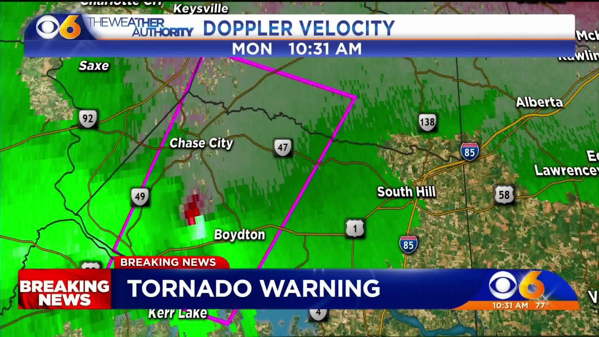 UPDATE Tornado Warning includes Chase City Clarksville