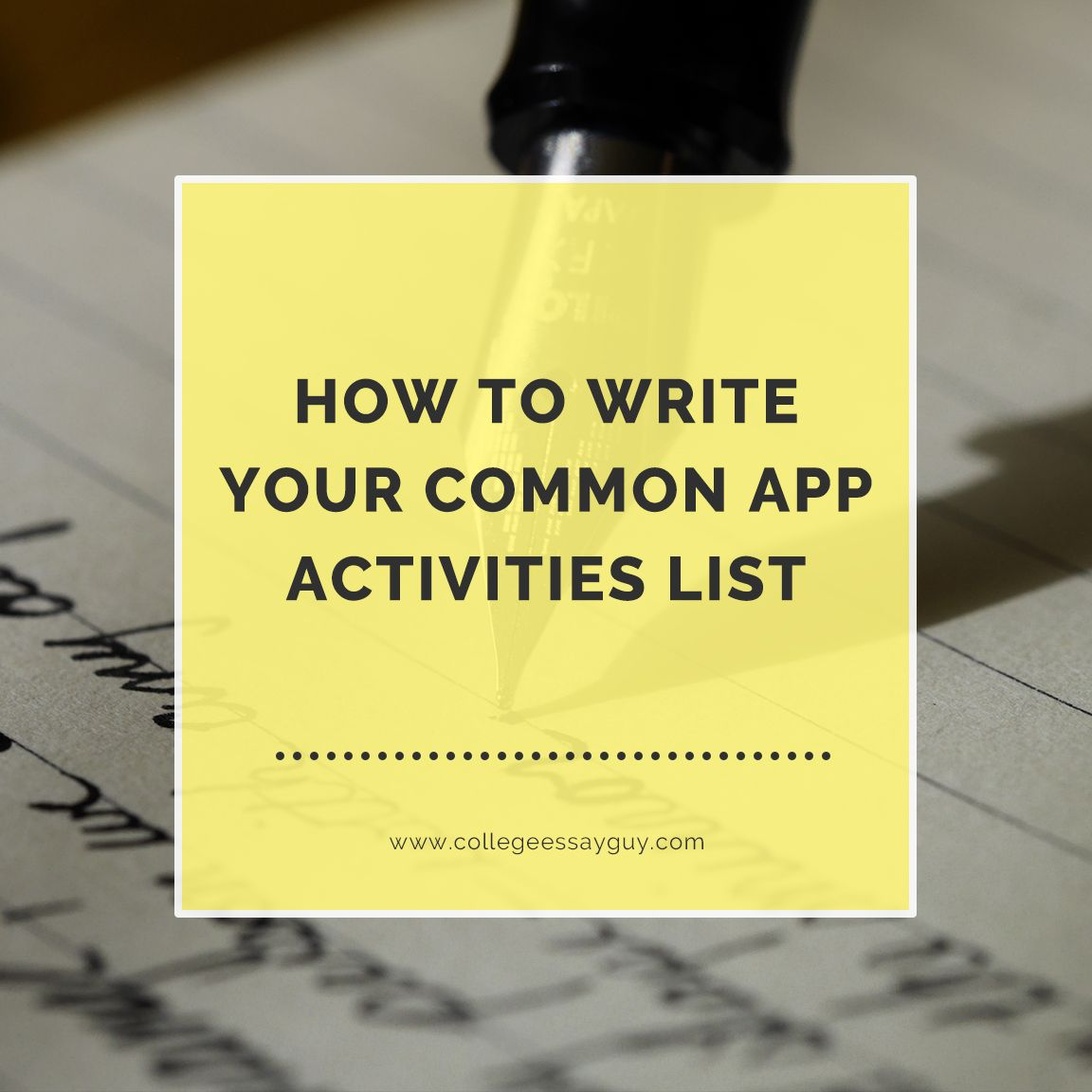 You only get 150 characters: how do you make the most of them? Get the most out of the limited word count of the Activities List by following my guide for translating the hundreds of hours you've spent on projects and activities into your Common App. goo.gl/oQy7qq