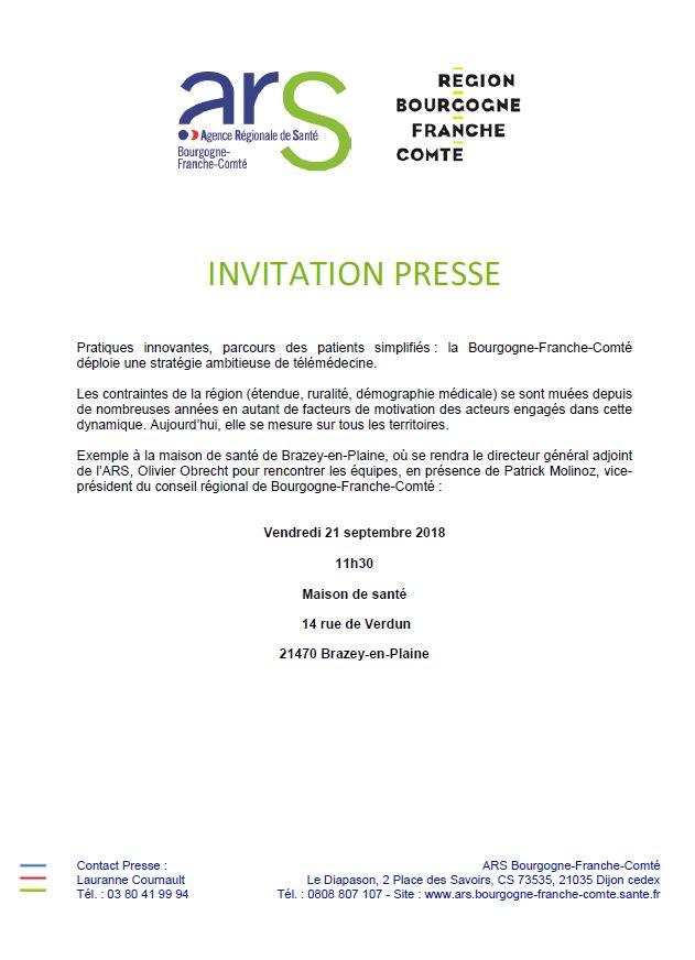 Ars Bfc On Twitter Invitation Presse Telemedecine Sante