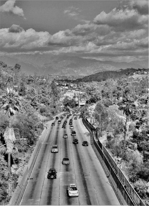 2018 - Looking north over Arroyo Seco Pkwy (CA-110) from Bishops Rd Bridge. B&W photo by Howard Gray. Foto