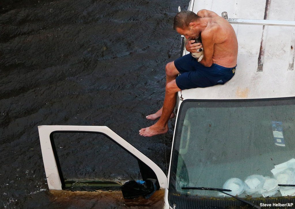 U.S. Coast Guard rescue team airlifts a North Carolina man cradling his dog as the two were stranded atop a van amid #Florences rising floodwaters. abcn.ws/2OvUNhD
