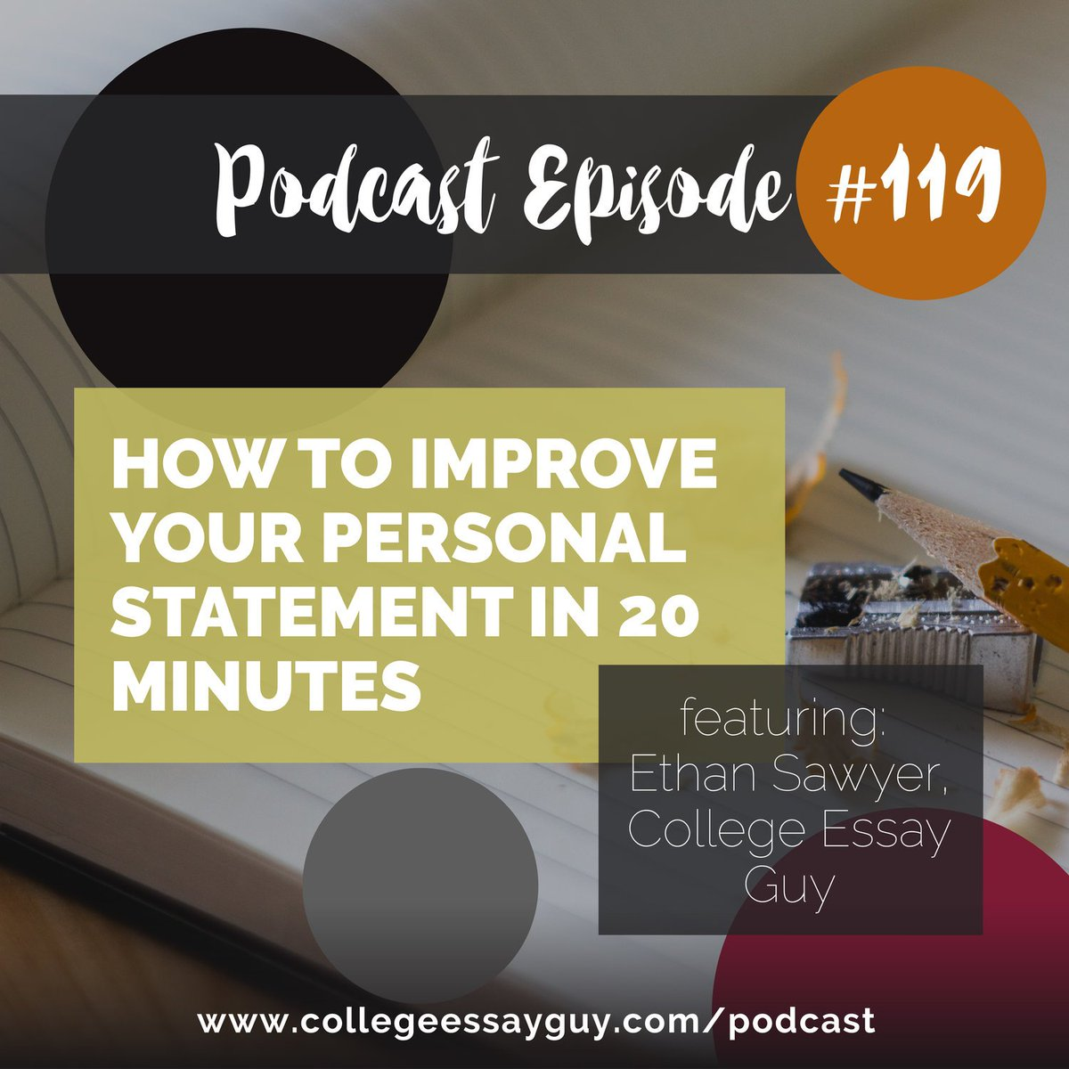 "On this CEG Podcast episode, I share what steps to take to turn your essay from ""just okay"" to ""great."" Specifically, I share what I believe the qualities of a great essay are and even a step-by-step process for how to make your reader cry. 🎧 Listen: goo.gl/aEgjLs"
