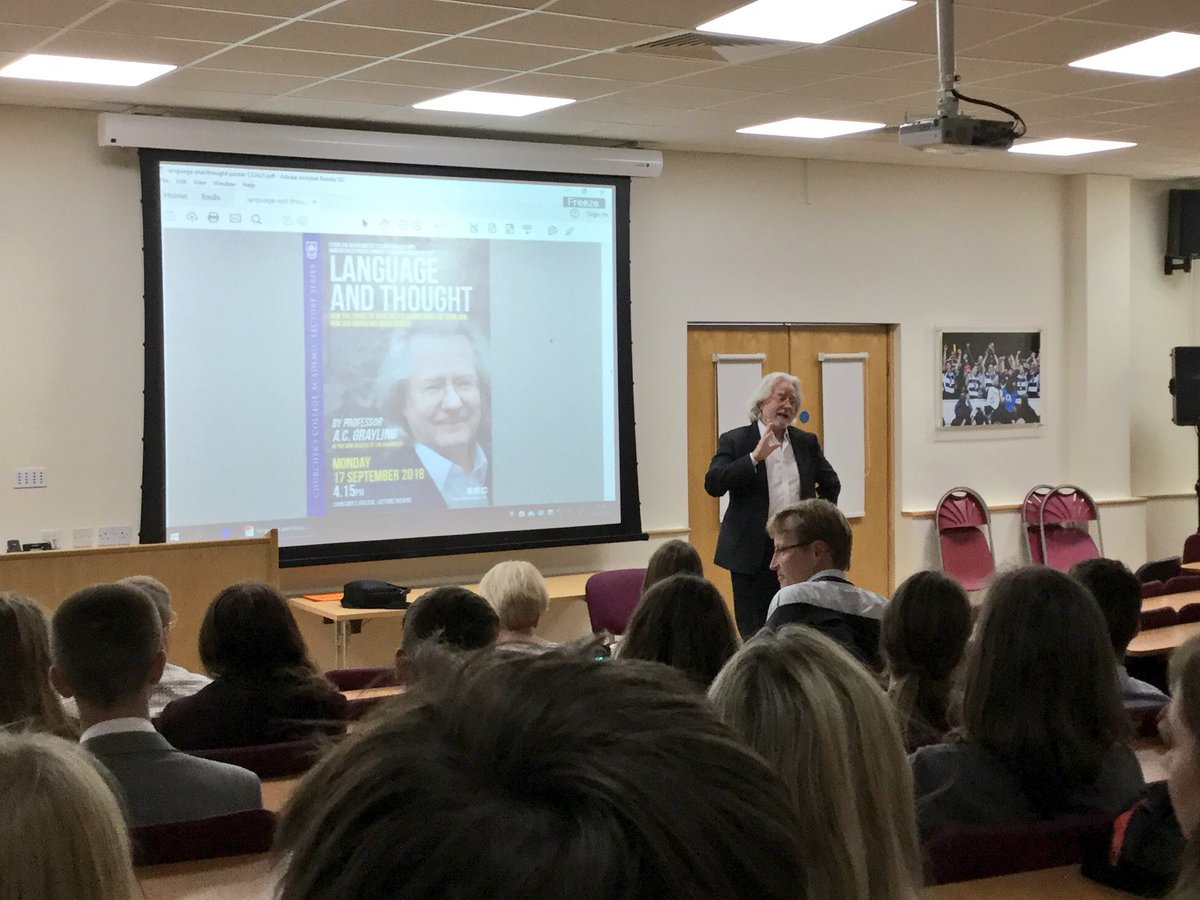 We don't mind at all that @acgrayling has 're-entered [his] hipster phase'. We are delighted that he has come to talk at a joint meeting of LitSoc and PhilSoc on the subject of thought and language. Thanks to Mr Reeves for organising. #ChurchersSixth<br>http://pic.twitter.com/1o8Ipc5vxx