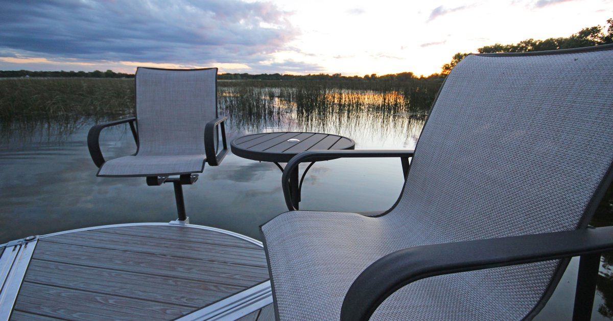 Available In 5 Chair Fabric Options You Get Furniture That Matches The  Unique Style Of Our Waterfront Space. #shoremaster #shoreline #docks # Boatdock ...