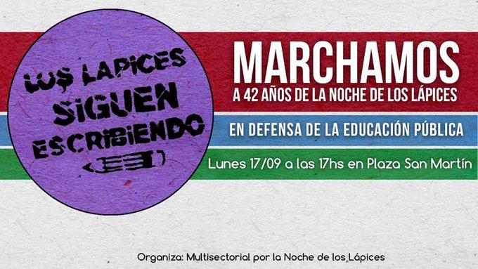 #Rosario A 42 años de #LaNocheDeLosLapices No pasarán, seguimos escribiendo la historia! Foto