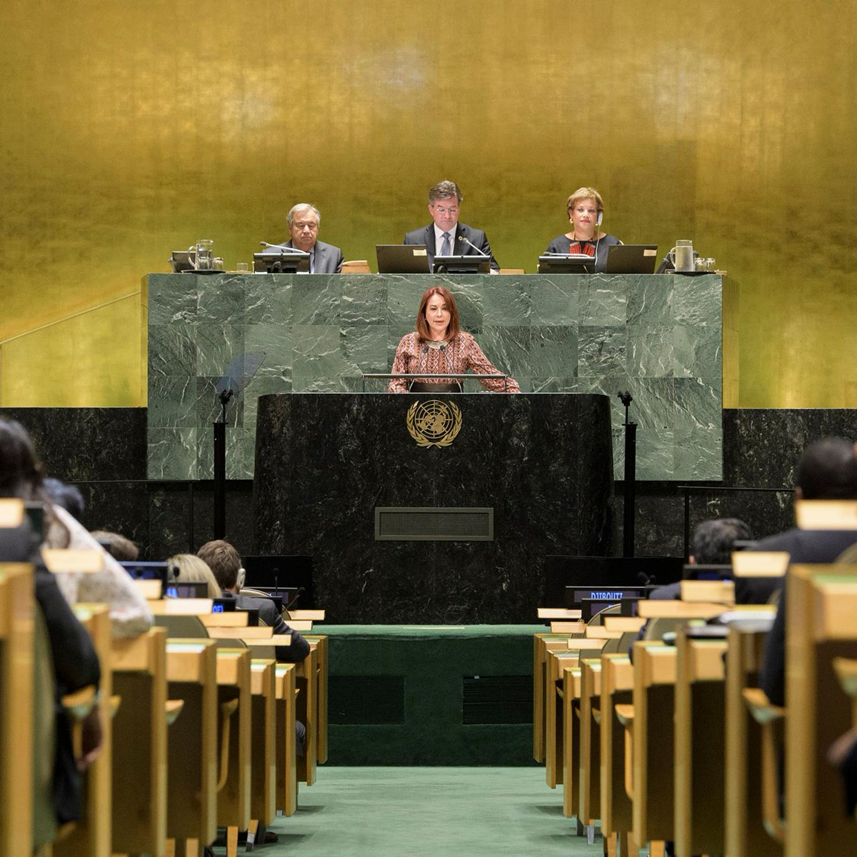 I am extremely proud to be the first woman, Latin American Caribbean woman, to have the privilege to lead the General Assembly. -- @mfespinosaEC of Ecuador, the new @un_pga of the 73rd session. bit.ly/2NOZIwN