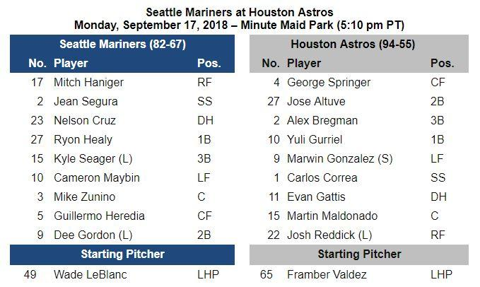 #Mariners Gameday Info - September 17 at #Astros. Lineups, Game Notes & More: atmlb.com/2xtbKBJ