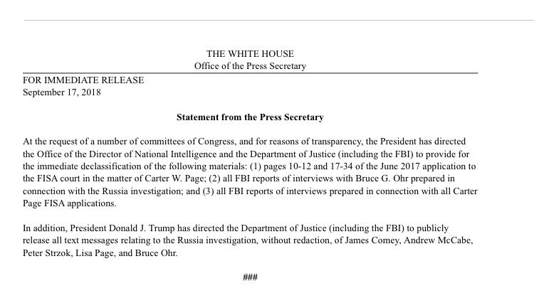 """WH: Trump has """"directed the Department of Justice (including the FBI) to publicly release all text messages relating to the Russia investigation, without redaction, of James Comey, Andrew McCabe, Peter Strzok, Lisa Page, and Bruce Ohr."""""""
