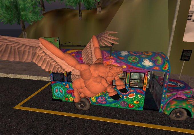 Happy Birthday Ken Kesey Pigasus the Prankster hogfarm pet flies over The Bus ( Furthur ) ...