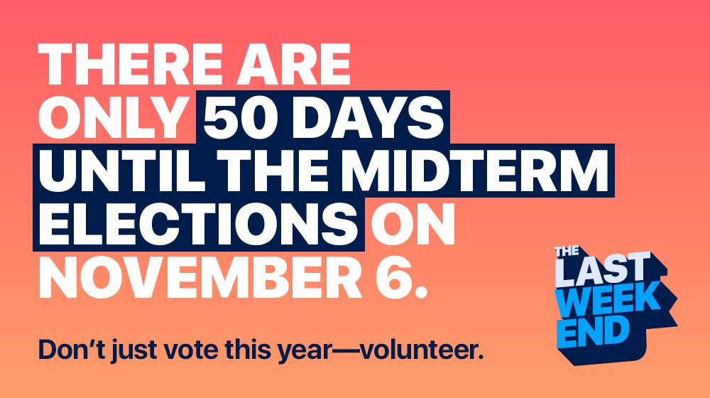 The midterms are so close we can taste them! What are you doing to transform our government? Don't just vote this year—volunteer on #TheLastWeekend before the election:  http:// thelastweekend.org/redtoblue  &nbsp;   #RedToBlue <br>http://pic.twitter.com/BJRtuekEex