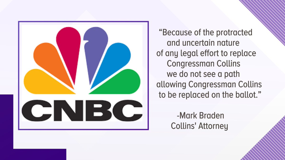 Via @CNBC, statement from @RepChrisCollins attorney about decision to remain on ballot in #NY27 race. @WGRZ