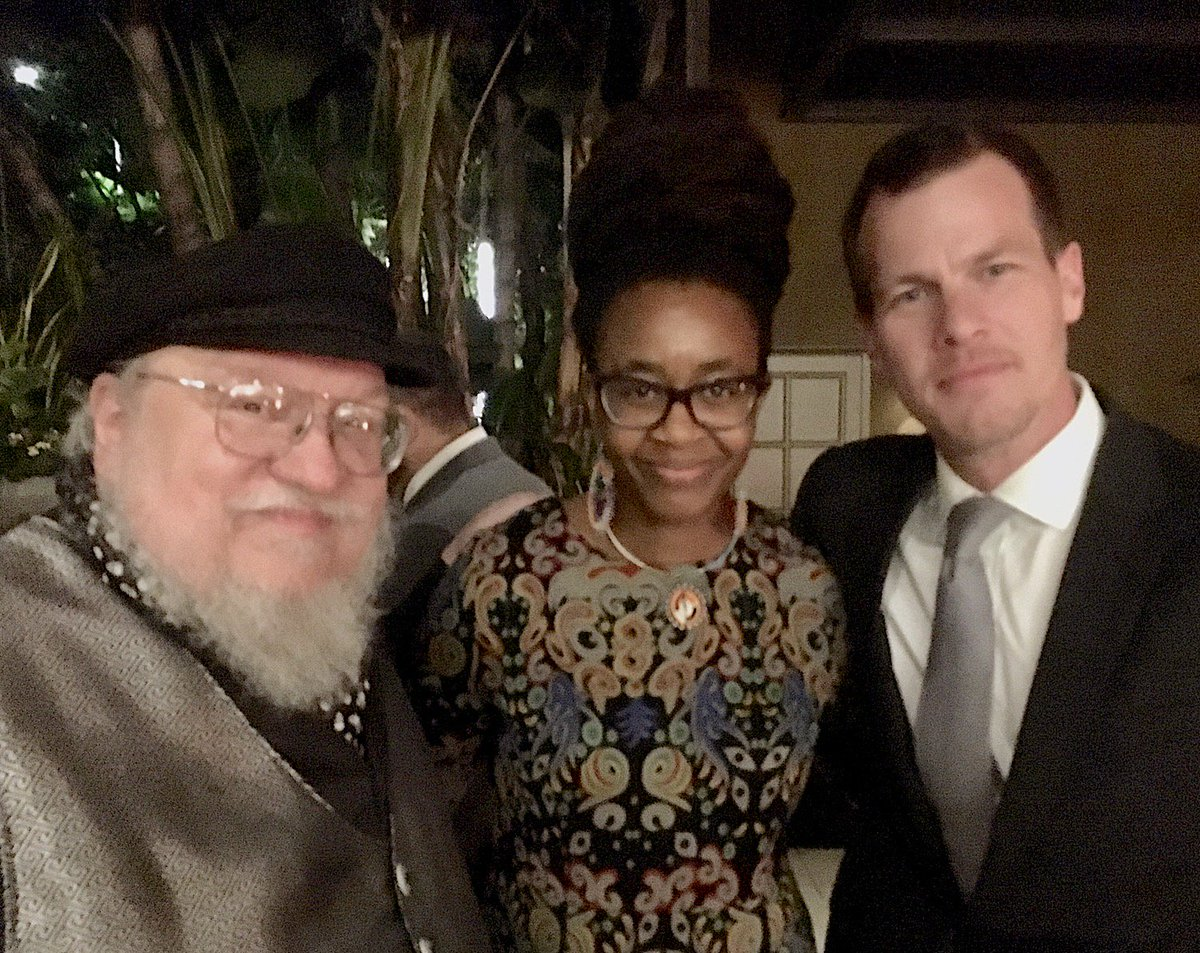 Hanging out at the @HBO Emmys Pre-Party with Jonathan Nolan and @Nnedi Okorafor. Good luck to everyone tonight!