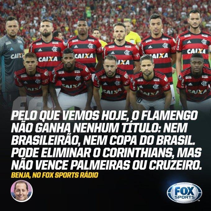 Com o futebol que tem mostrado, o @Flamengo terminará 2019 sem nenhum título! A opinião é de @BenjaminBack. #FSRádioBrasil Foto