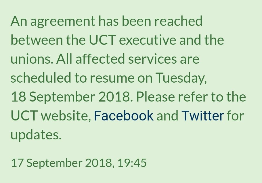 Uct On Twitter Notice An Agreement Has Been Reached Between The