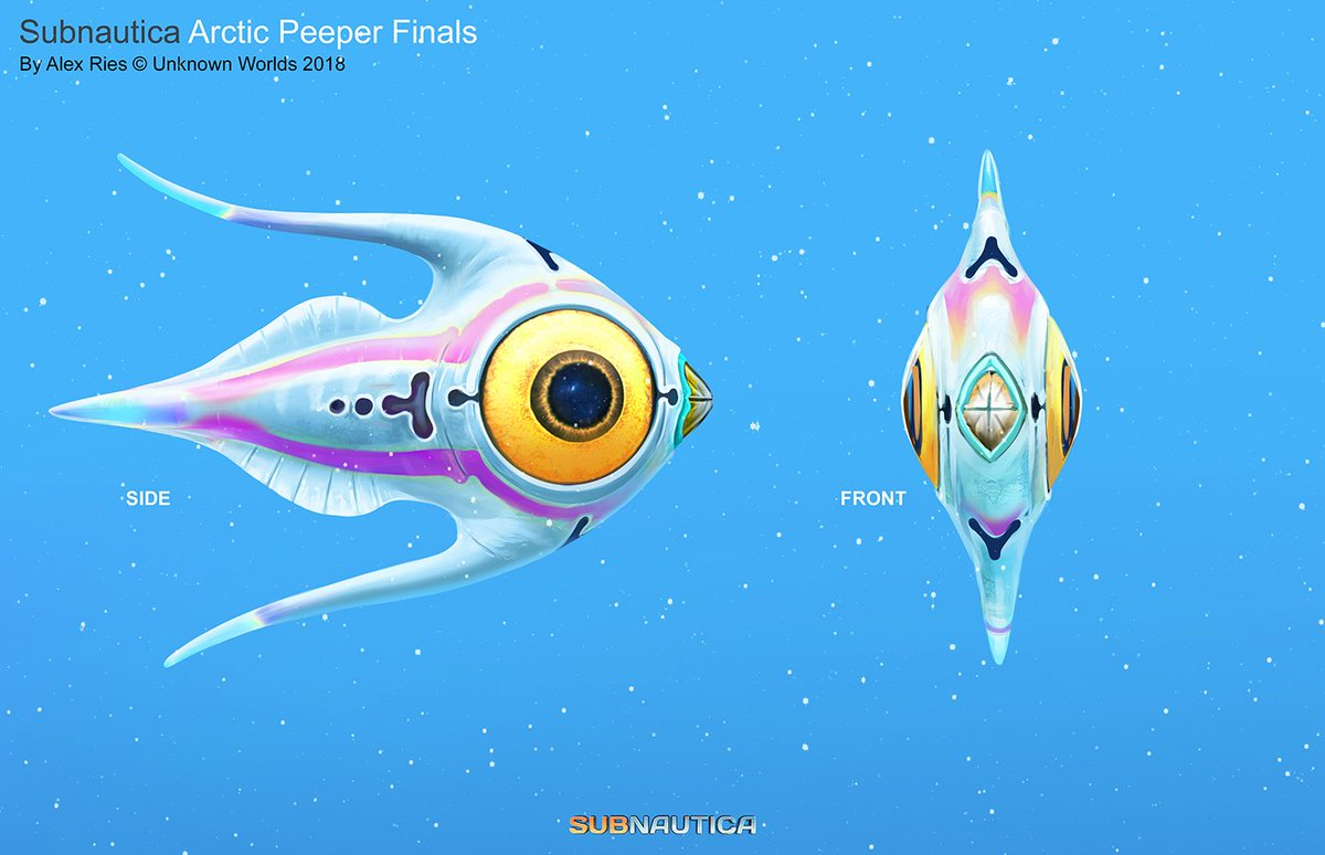 Jeepers, Peepers! Arctic varieties of species will be featured in @Subnautica Below Zero. Here is the Arctic Peeper concept by artist Alex Ries @alexriesart. Disclaimer: Contents may change in final game.