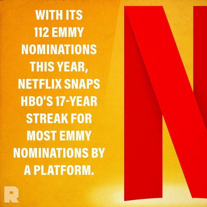 It's an historic year for @netflix, but will the streaming giant take home the most #Emmys? We'll be live-tweeting here, starting at 5 PST. See you then! Photo