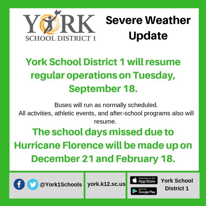 York 1 Schools On Twitter York School District 1 Will Resume