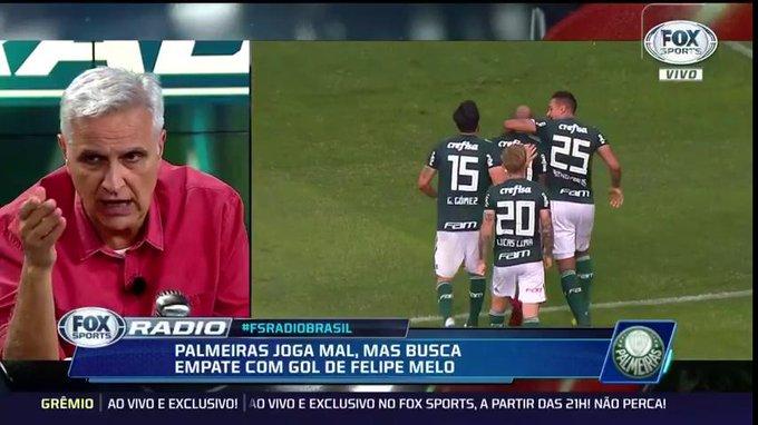 💚🐷 Fiquei decepcionado, achava que o @Palmeiras ganharia. Quem quer ganhar três competições não pode desperdiçar ponto. Quer ganhar? Não pode empatar com o Bahia. A diferença para o São Paulo cairia para um ponto, afirma Sormani. #fsradiobrasil Foto