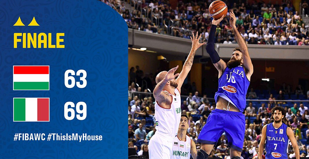 #FIBAWC @Italbasket avanti 28-43, poi reazione Ungheria fino al 47-45. Ultimo quarto da brividi. Biligha fa 61-66, @GigiDatome (18p) la chiude. La Cina è più vicina! #Italbasket #italia #ItaliaUngheria #TuttoUnAltroSport #basketball @LegaBasketA @FIBA  - Ukustom