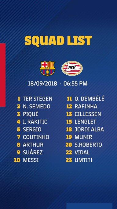 ¡Se viene la #CHAMPIONSxESPN! Estos son los convocados del Barcelona para hacer su debut ante el PSV en el Camp Nou. Foto