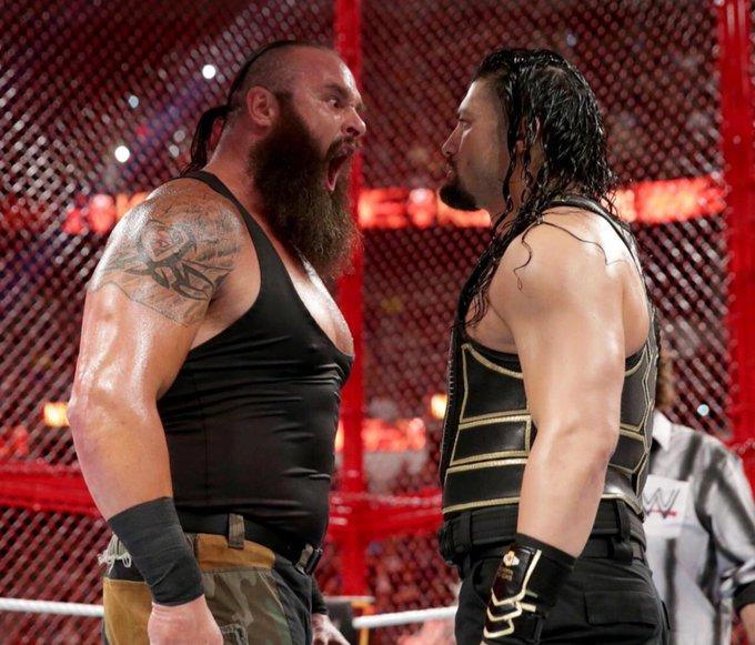 DATO DEL DÍA: @BraunStrowman y @WWERomanReigns estuvieron un total de siete minutos tendidos en el suelo en su combate de ayer en #HIAC de #WWE Photo