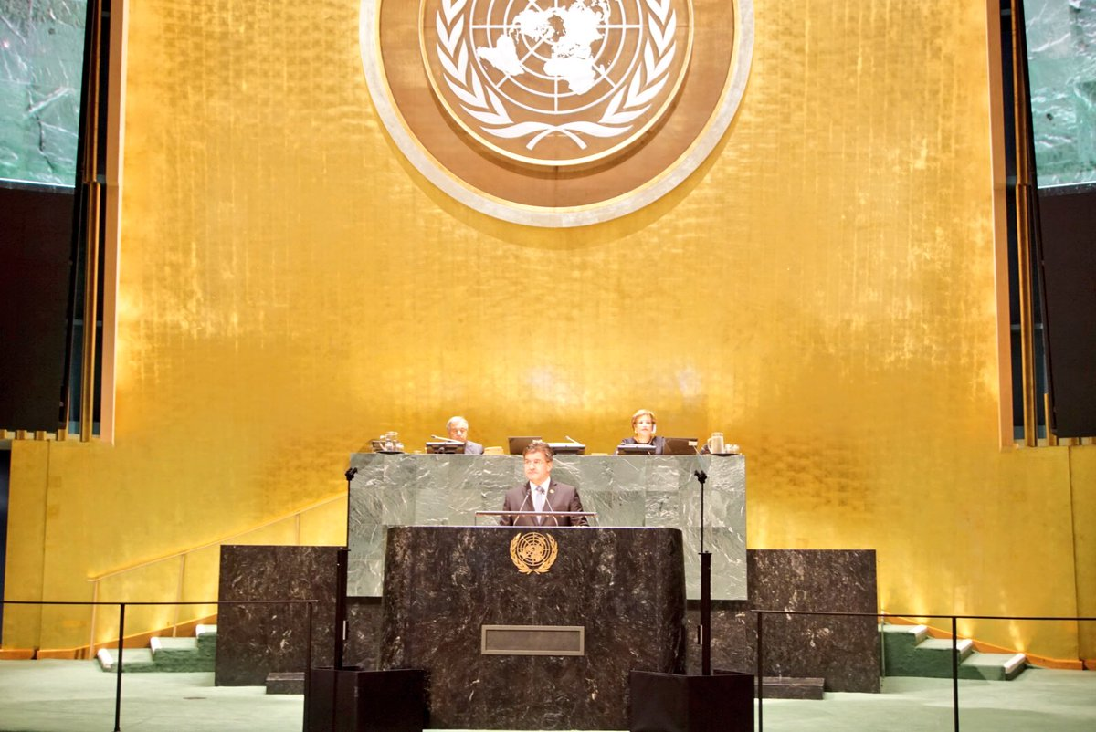 """""""We are at a crossroad. And we need to make some tough choices. We can choose a better life for everyone. Or we can take the road of growing inequalities and broken promises... The stakes are high. We need to take the right road. """"- at closing of 72nd #UNGA"""