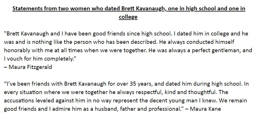 "New statements issued by ""two women who dated"" Kavanaugh https://t.co/q8xe4Po6aj"