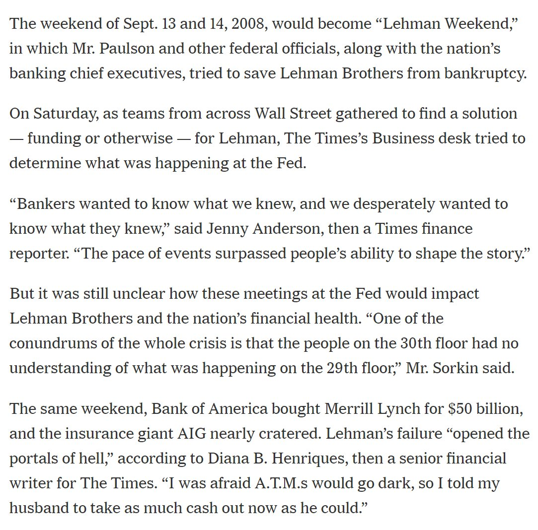 Flashing back to my crazy days as NYT's wknd biz editor during the crisis, w/ the great @latimeslarry @winnieokelley @andrewrsorkin @jandersonQZ @ericdash @louisestory @davidhgillen et al  10 Years Ago, Wall St. Collapsed. These Reporters Told the Story. https://t.co/VT3JrB2eOV