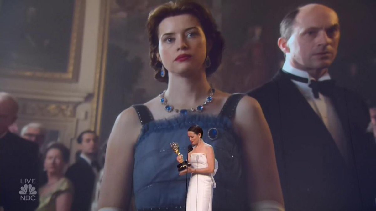 Claire Foy says goodbye to #TheCrown and welcomes the new cast in #Emmys acceptance speech: I dedicate this to the next cast, the next generation.
