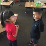 Image for the Tweet beginning: First graders on a pair