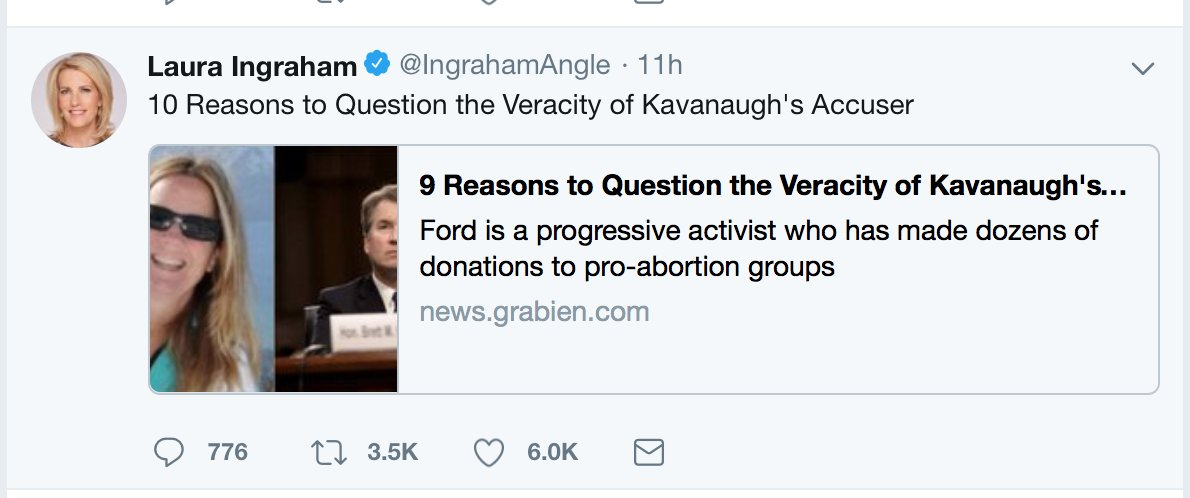 This article, shared by Fox News host Laura Ingraham used Rate My Professor reviews to claim Kavanaughs accuser was unstable (it was another professor of the same name and then removed from the article) and falsely claimed Kavanaughs mother foreclosed on Fords parents.