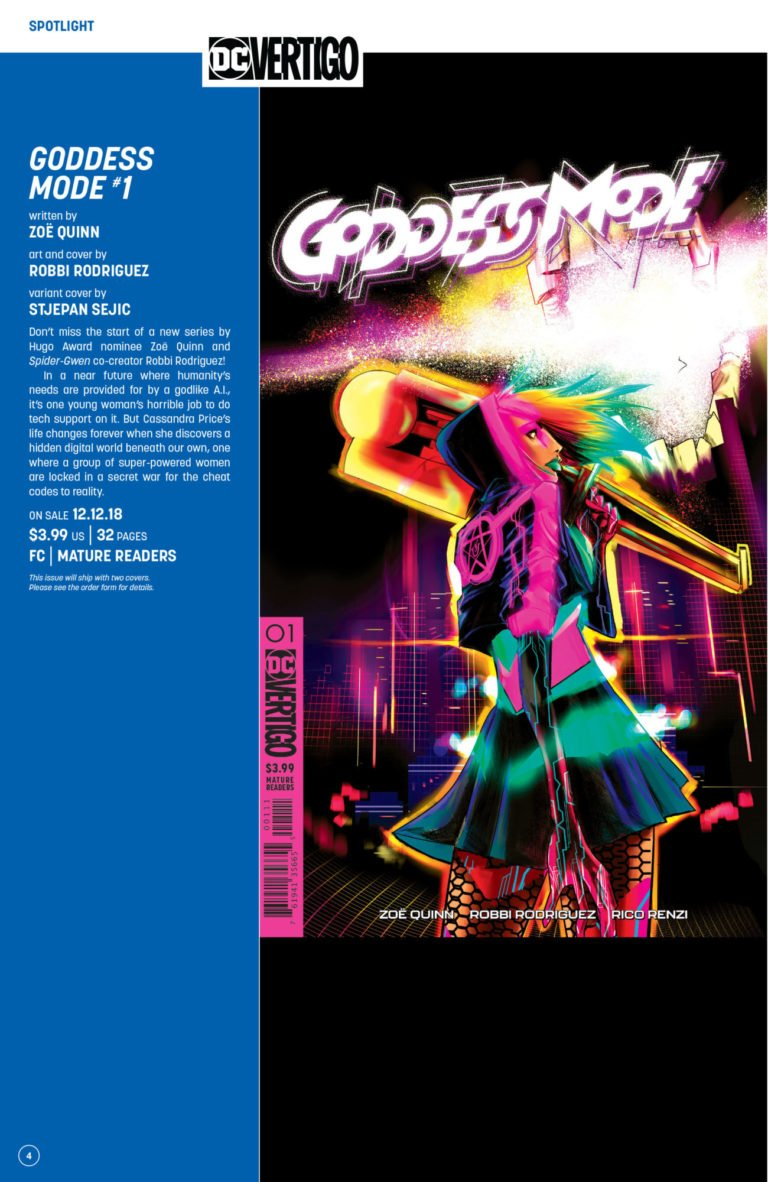 WOO! Now that Goddess Mode is in DC Comics Previews, you can request your local comic book shop order it or add it to your pull list!