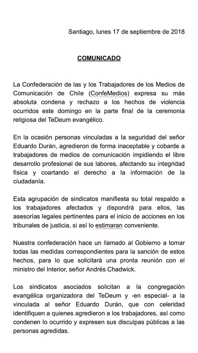 Confederación de las y los Trabajadores de los Medios de Comunicación de Chile rechaza agresiones a la prensa en TeDeum evangélico, con llamado al Gobierno a tomar todas las medidas para sancionar los hechos-.