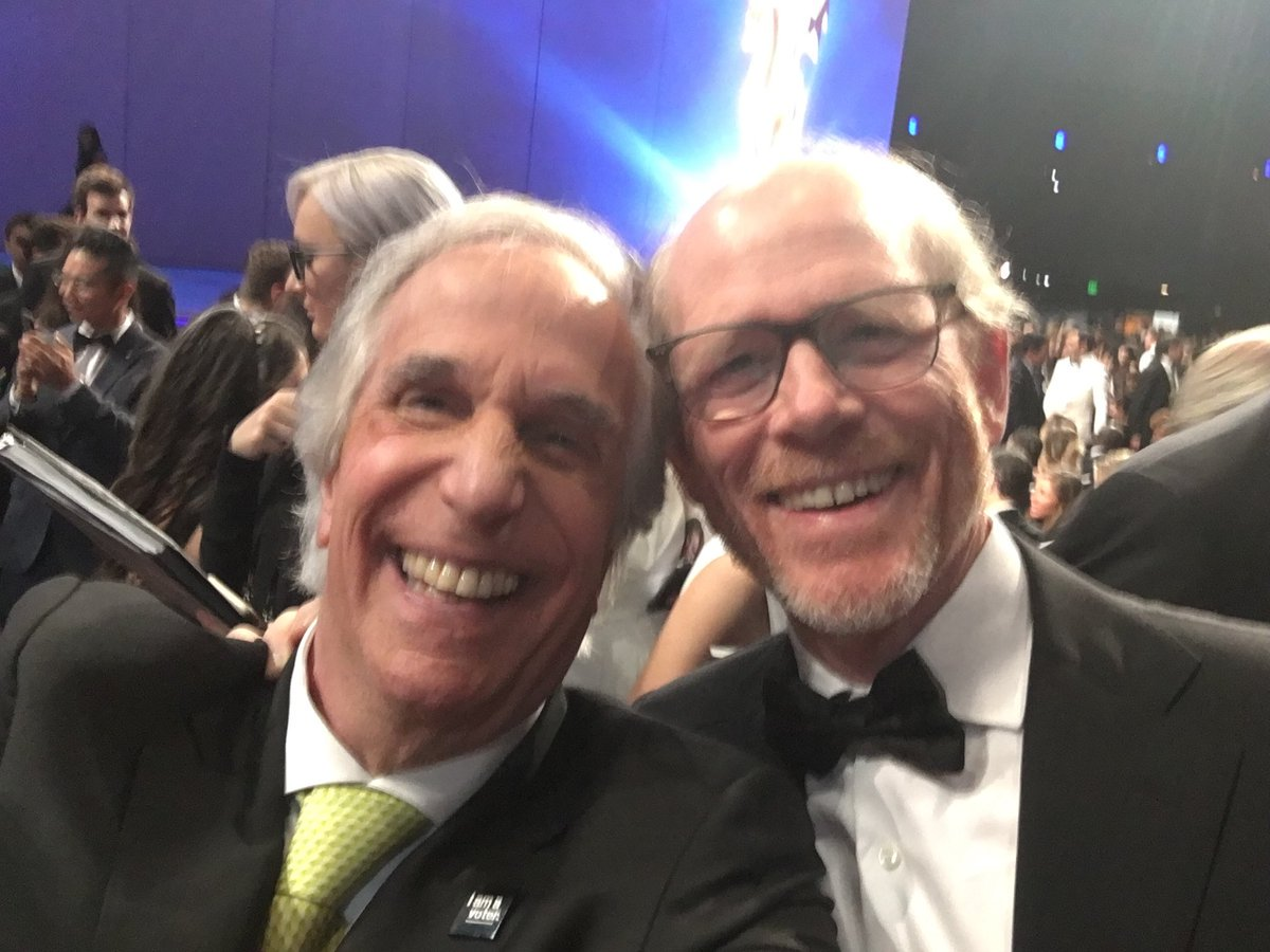 The Fonz wins an Emmy for his performance in #Barry. But Twitter goes crazy when @hwinkler4real posts a selfie hugging his #HappyDays co-star @RealRonHoward!  Read more in my @CNET article here: https://t.co/a8435pVf61  #Emmys #EmmyAwards2018 @HBO