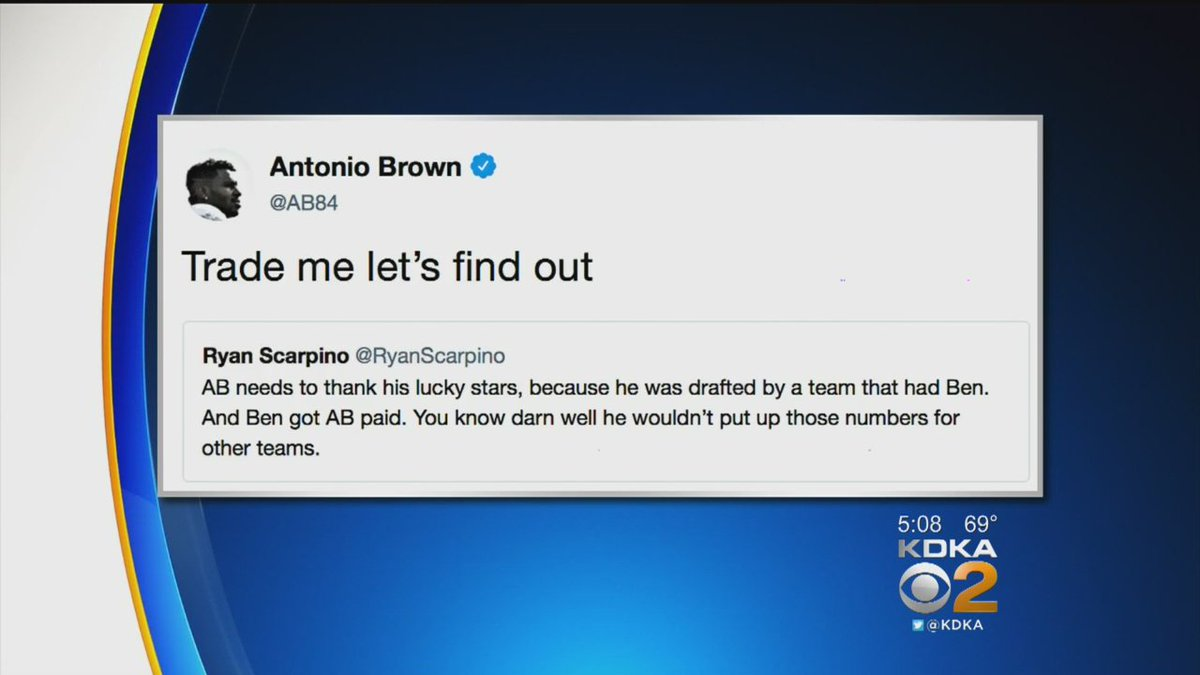 'Trade Me, Let's Find Out': Antonio Brown responds to Twitter criticism -- cbsloc.al/2QBkcaV