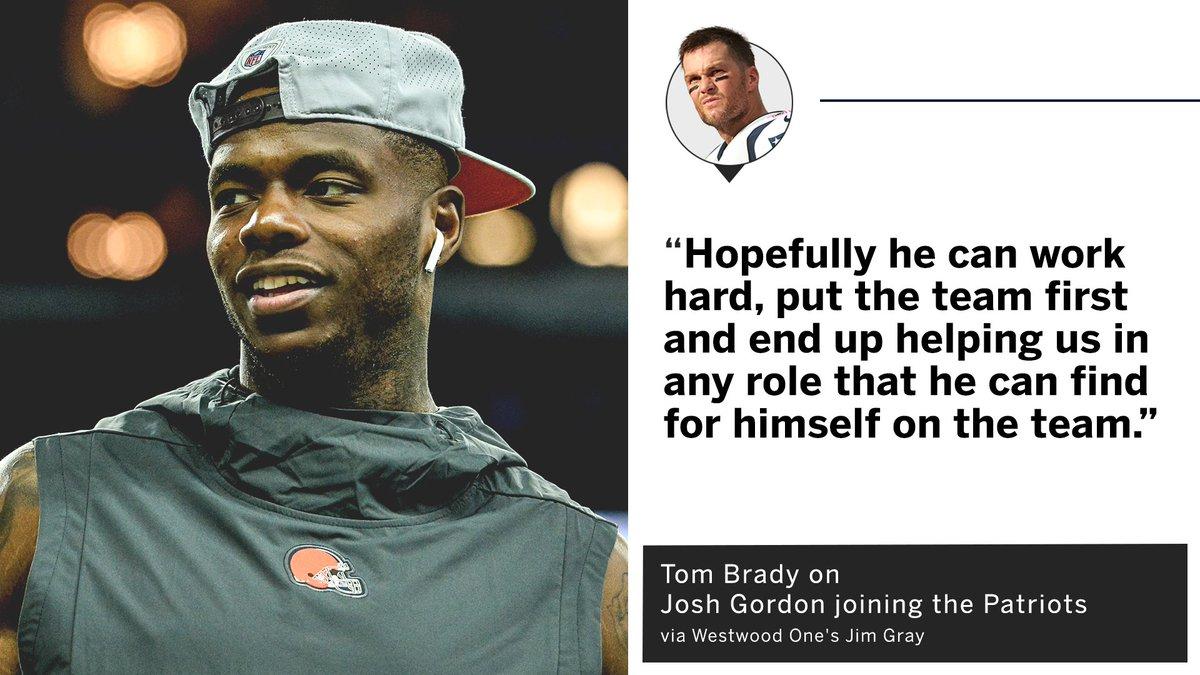 Tom Brady welcoming Josh Gordon to the Patriot Way.